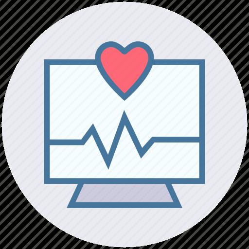 bar graph, display, heart, lcd, monitor, screen icon
