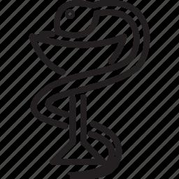 health, medical, medication, pharmacy, prescription, snake icon