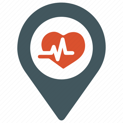 cardiogram, defibrillator, heart care, heart health, location, pulse icon