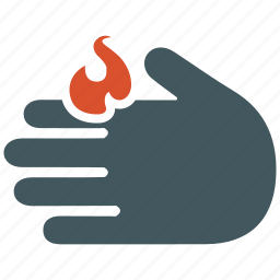 burn, damage, fire, flame, hand, heat, skin icon