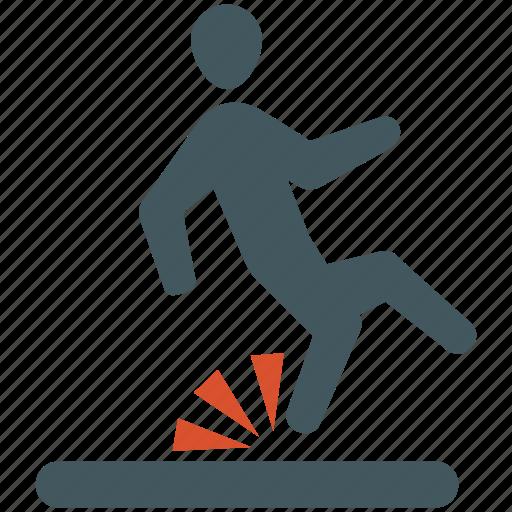accident, fall, hazard, insurance, risk, slip, tumble icon