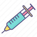 doctor, healthcare, inject, injection needle, patient, syringe, treatment icon