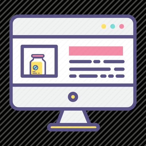 computer, hospital website, medical web, pc, website icon