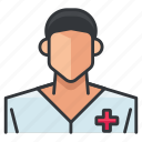 avatar, man, medical, nurse, person, profile, user icon
