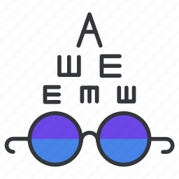 check, glasses, test, view, vision icon