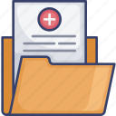 folder, health, medical, healthcare, paper, file, document icon