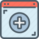 browser, healthcare, hospital, medical, online icon