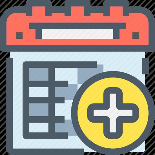calendar, healthcare, hospital, medical icon