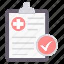 tickmark, medical, clipboard, plus, tick, supervision, care