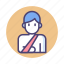 arm, arm sling, broken, broken arm, shoulder sling icon