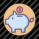 piggy bank, save money, savings icon