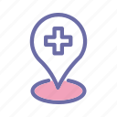 medical, emergency, doctor, paramedic, location icon