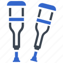 broken, disabled, crutches, leg, support icon