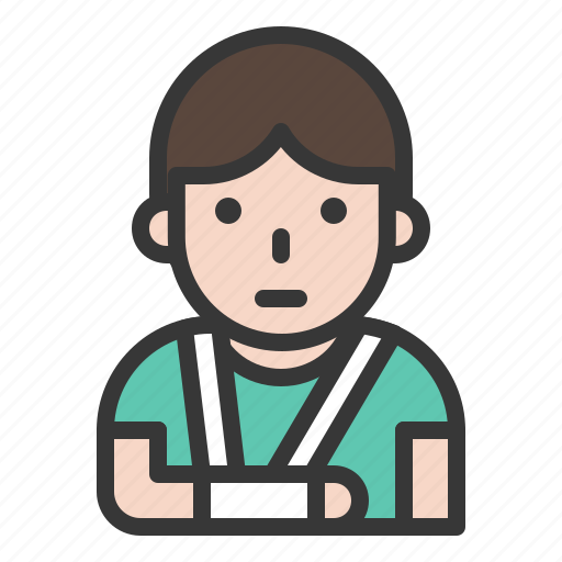 Accident, arm sling, hurt, injury, medical, pain, patient icon - Download on Iconfinder