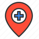 hospital, location, medical, navigation, pin, place icon