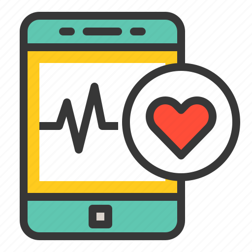 emergency, healthcare, heart rate, hospital, medical, smartphone, vital signs icon