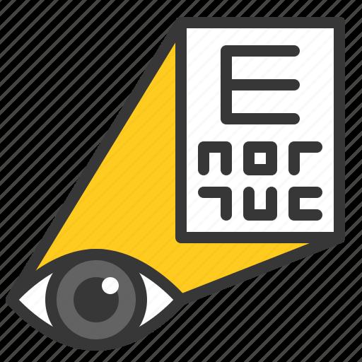 eye, eye examination, eye test, hospital, medical, orthoptics, test icon
