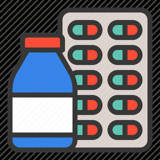 bottle, capsule, drugs, hospital, medical, medicine, pharmacy icon