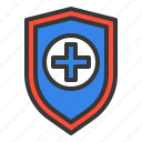 cross, cure, guard, hospital, medic, medical, shield icon