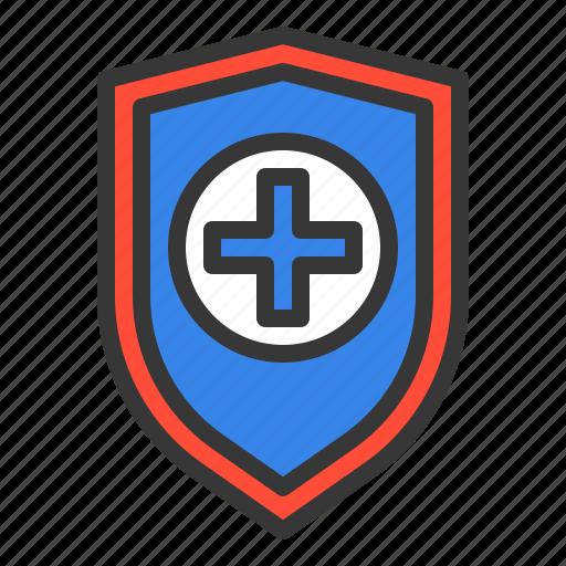 cross, cure, guard, hospital, medic, medical, shield icon