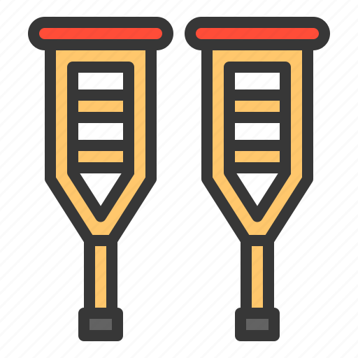 hospital, medical, physiotherapy, tool, treatment, walker sticks icon