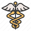 alchemy, caduceus, medical, serpent, sign, trade, wing icon