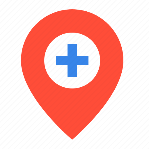 hospital, location, medical, pin, place icon