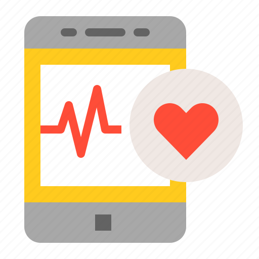 healthcare, heart rate, hospital, medical, phone, smartphone, vital signs icon