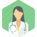 doctor, female, gynecologist, lady, practitioner, stethoscope, surgeon icon