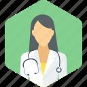 doctor, practitioner, stethoscope, female, gynecologist, surgeon, lady