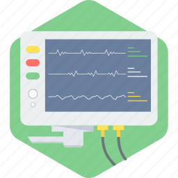 analytics, medical, medical electronics, medical monitor, monitor, report, screen icon