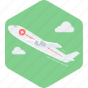 aeroplane, emergency, medical, medical flight, medical rescue, plane, tourism icon