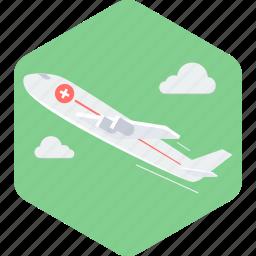aeroplane, emergency, medical, medical flight, medical rescue, plane, tourism icon