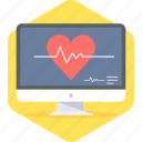 ecg, heart beat, lines, monitor, pulse, report icon