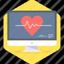 monitor, ecg, heart beat, lines, pulse, report