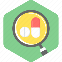 capsules, medical, medicine, pills, prescription, search icon