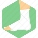 sprain, bandage, foot, injury, plaster icon