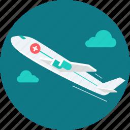 air paramedic, ambulance, emergency, healthcare, medical, plane, transport icon