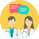advise, bubble, chat, communication, discussion, doctor, message icon
