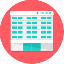 building, clinic, hospital, hospital building, medical, medical center icon