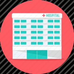 building, clinic, hospital, hospital building, medical, medical center icon