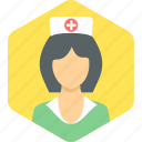 female, lady, nurse, sister icon