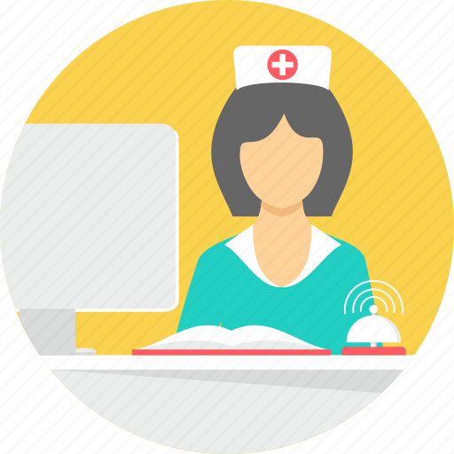 clinic, healthcare, nurse, pharmacy, reception, receptionist, sister icon