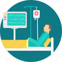 bed, ecg, icu, patient, emergency, healthcare, treatment icon