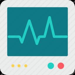 ecg, heartbeat, lifeline, medical, pulsation, pulse, screen icon
