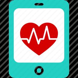 aid, app, health, healthcare, heart, medical, tablet icon