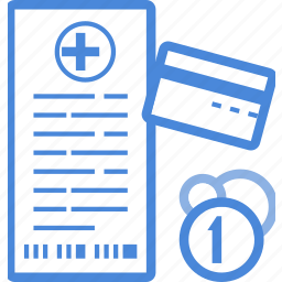 bill, card, clinic, credit, medical, money, pay icon