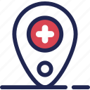 care, gps, hospital, location, medical icon