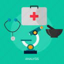 analytics, microscope, pestle, statistic, stetoscope, stone mortar icon