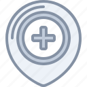 destination, health, hospital, location, medical, pin icon